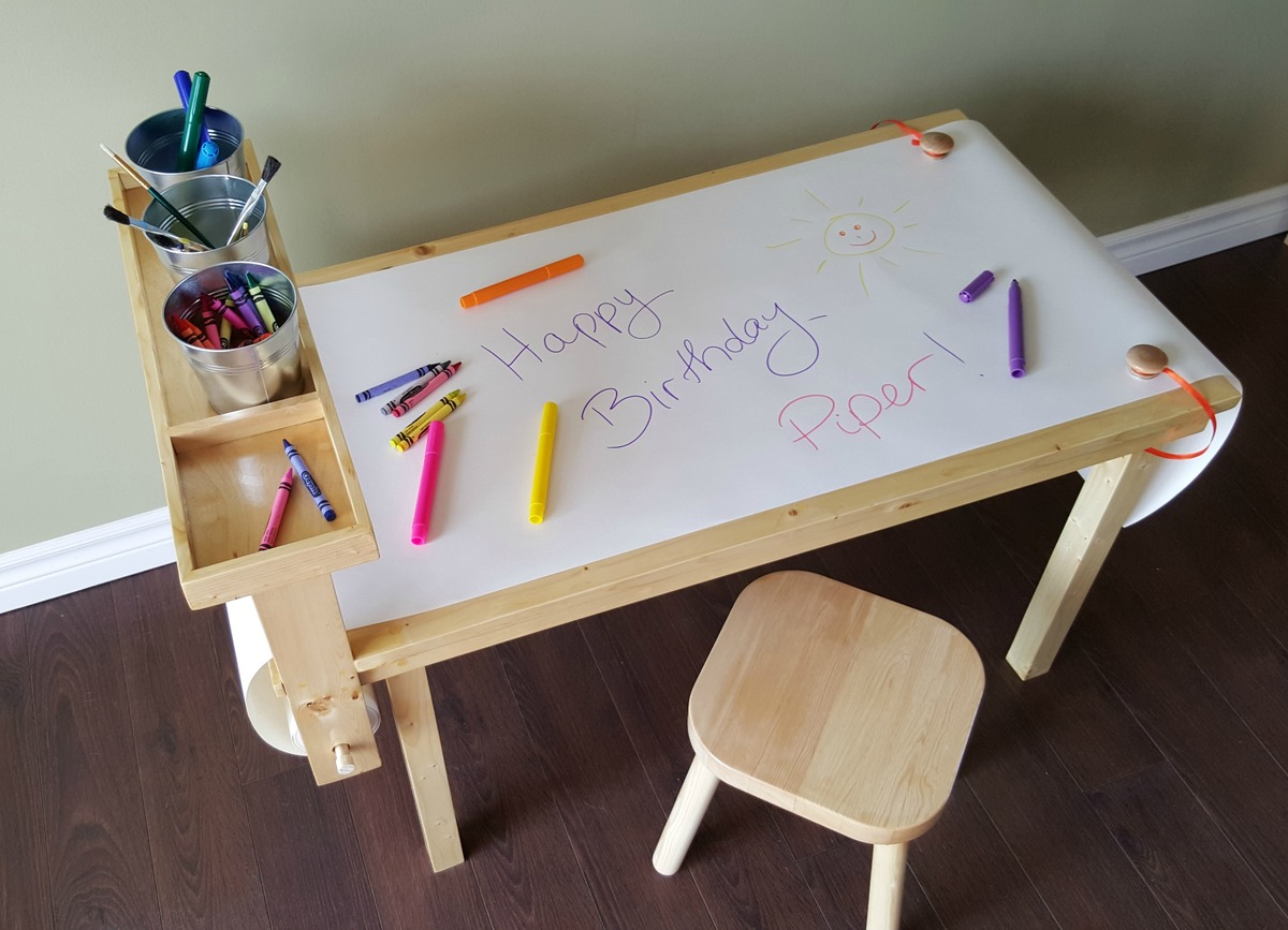 Children S Craft Table With Attached Paper Roll Ana White