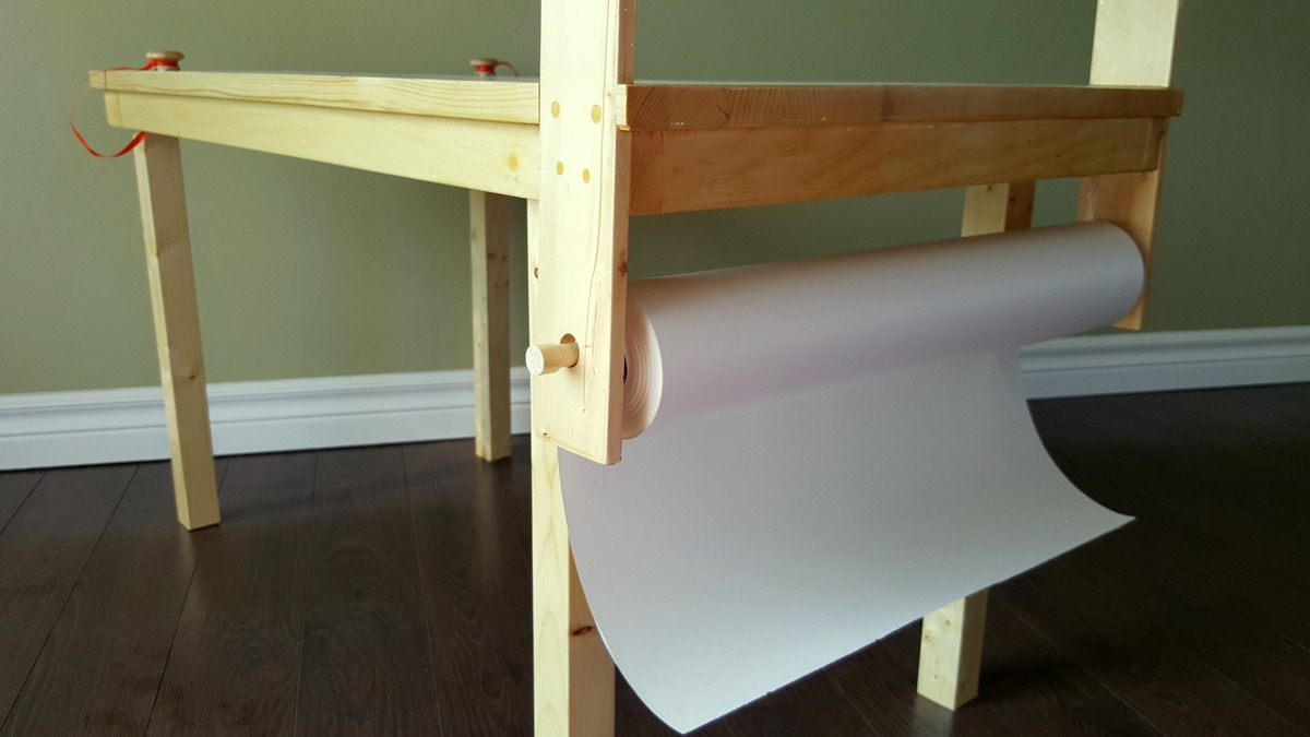 Children's Craft Table with Attached Paper Roll   Ana White