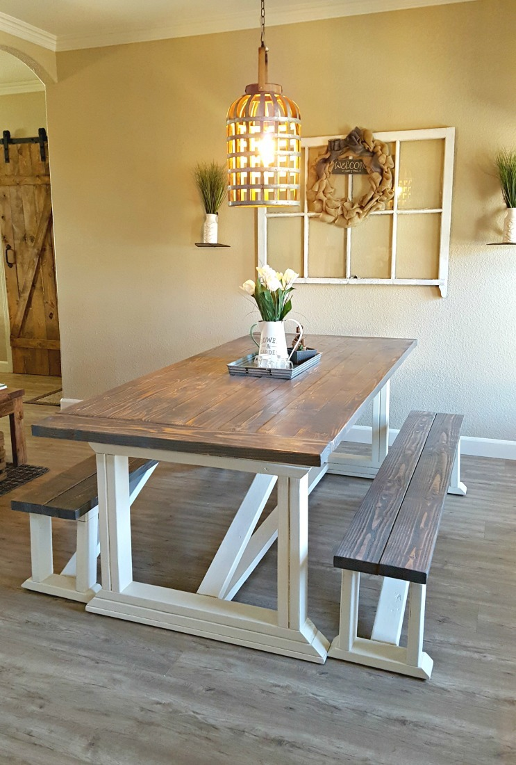 Ana white rekourt dining room table and benches diy for Ana white x dining room table