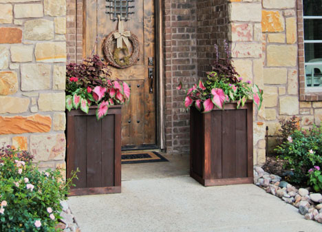 cedar frame and panel planters at front door