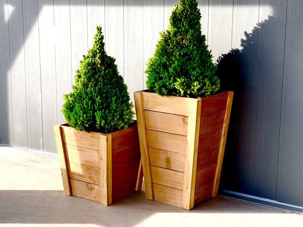 tall wood planters