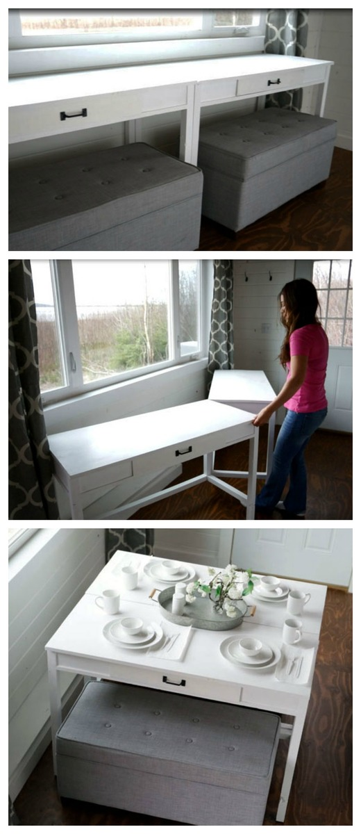 Flip Up Desks That Convert To Table For Our Tiny House