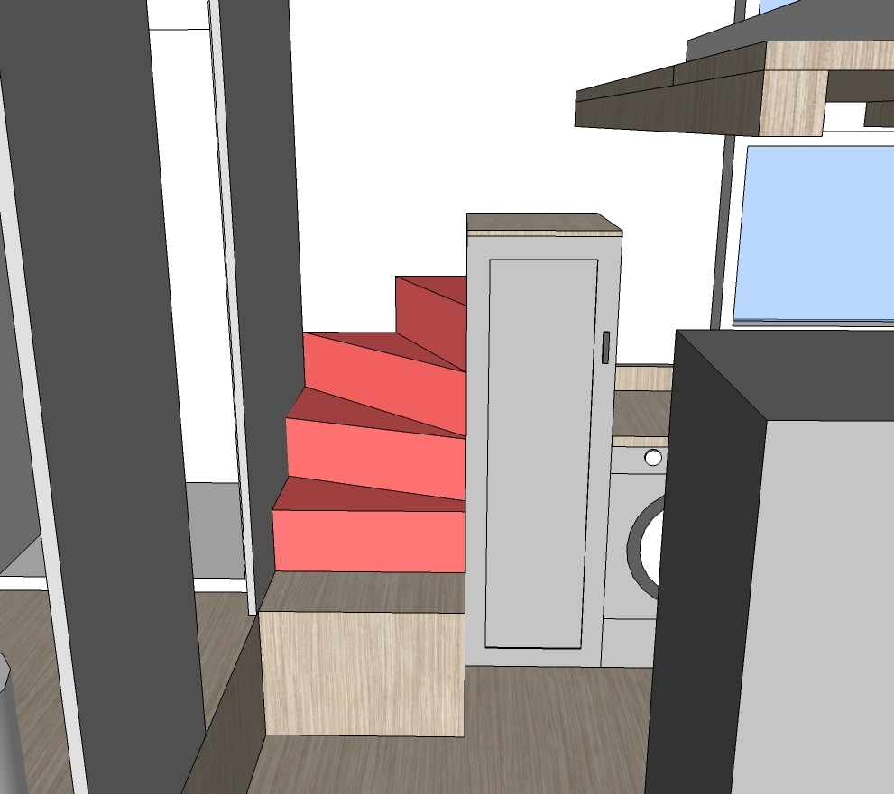Tiny House Stairs la tiny house with smart staircase to loft I Then Built A Pantry Right Next To The Lofted Second Stair With The Plumbing Pipes Hidden In The Back Of The Pantry The Pantry Height 63 Is About 18