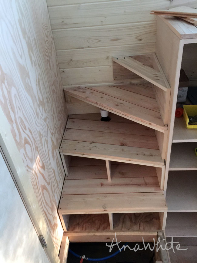 Tiny House Stairs tiny home is a light filled modern gem simplified for do it yourselfers treehugger The Next Stair Is A Full Triangle All The Way To The Corner I Tied This One Into The Wall And The Pantry To Secure