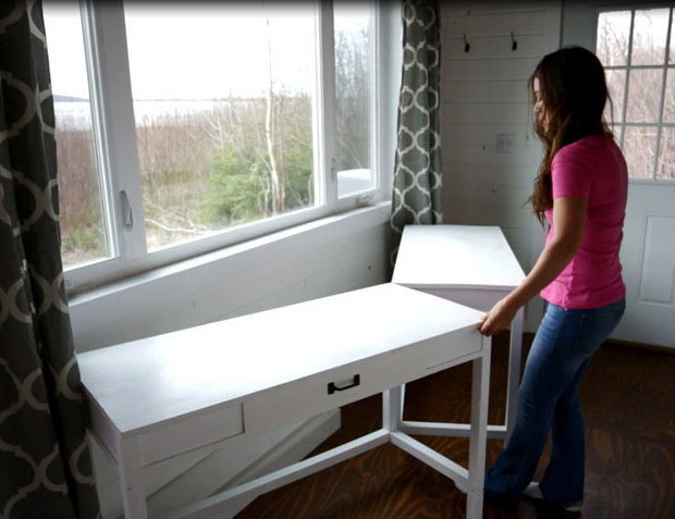 Ana white desks that convert to table for our tiny house for Ana white x dining room table