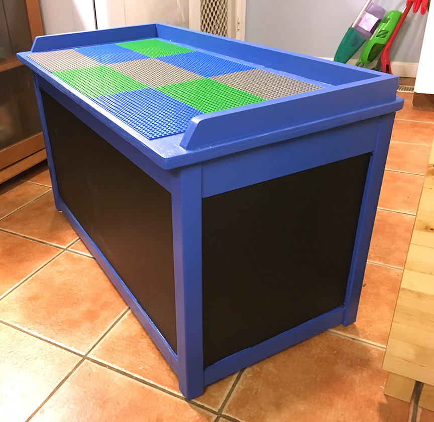 Ana White | Toy Chest with Lego top and chalkboard sides ...