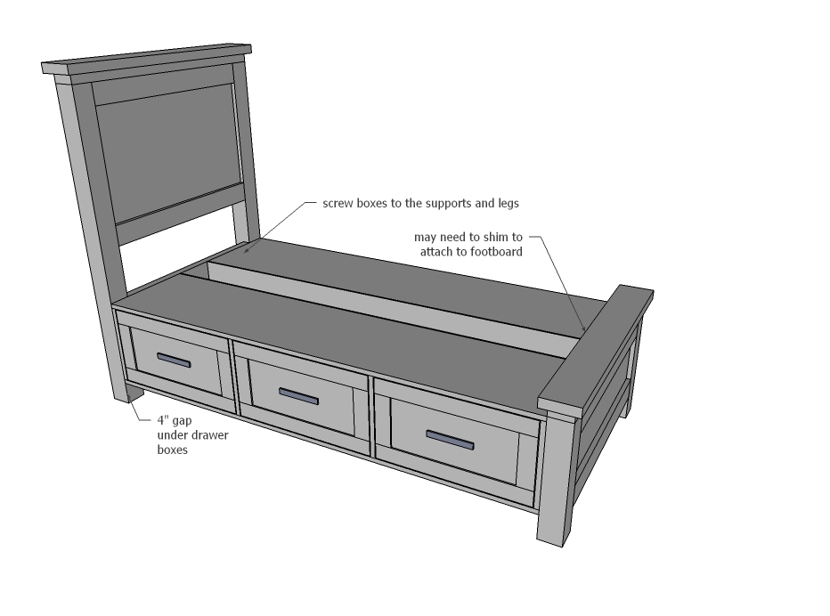 Lovely Ana White Farmhouse Storage Bed with Drawers Twin and Full DIY Projects