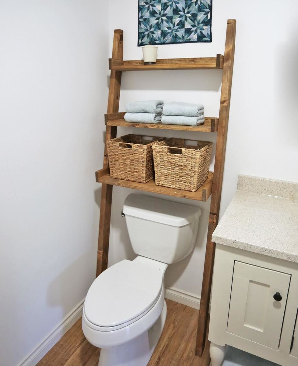 Over the Toilet Storage - Leaning Bathroom Ladder | Ana White