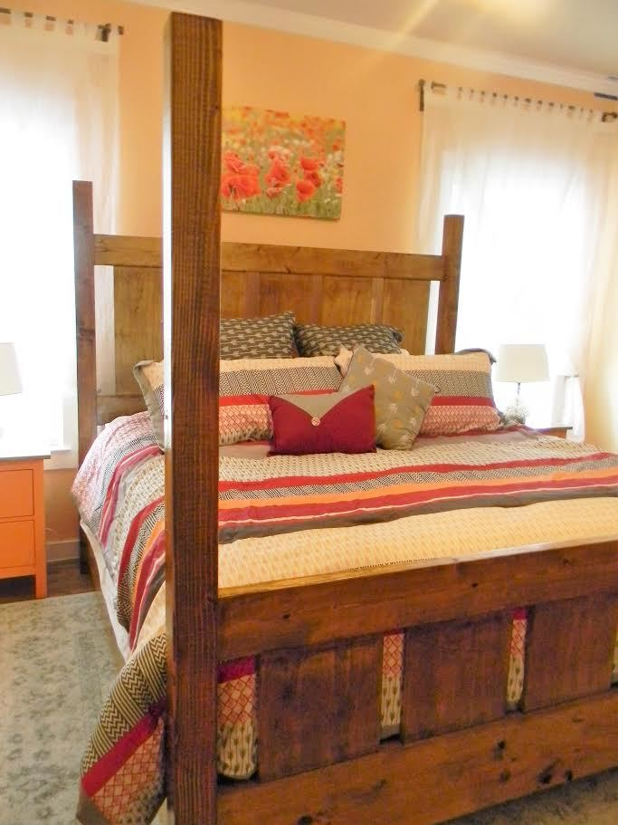 Ana White | Slatted Four Post Farmhouse Bed - QUEEN - DIY Projects