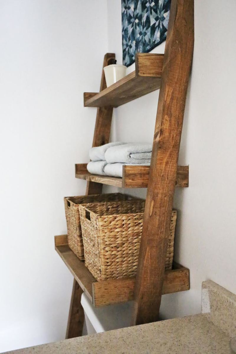 Cool Wasted Space Above The Toilet Try This DIY Builtin Bathroom Shelving