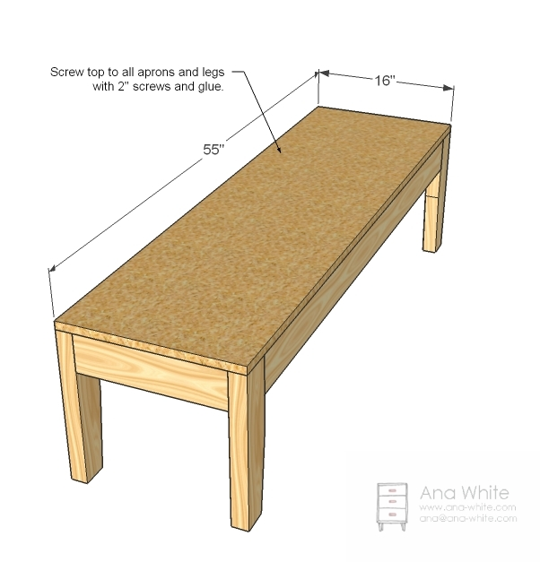 Ana White | Easiest Upholstered Bench   DIY Projects