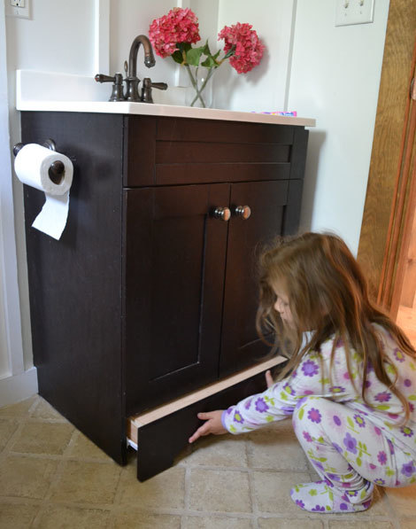 Child Friendly Vanity By Converting The Toekick To A Step Drawer Also Could Be Used Create Storage Increasing In Bathroom