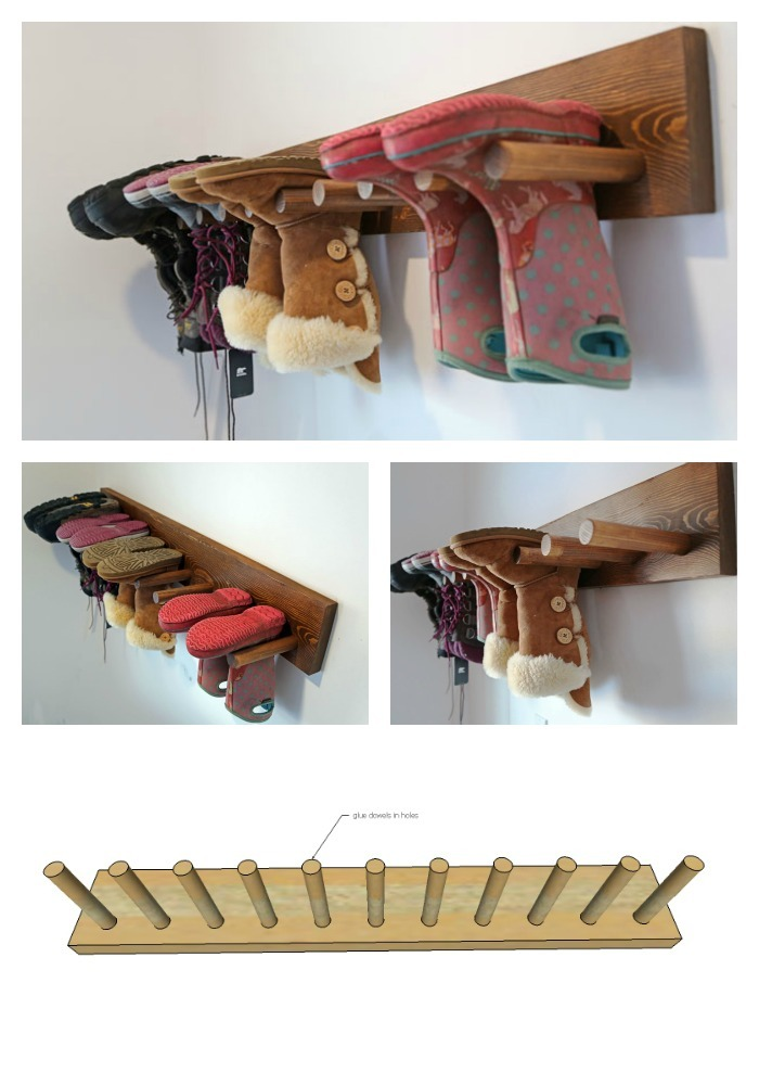 Ana white wall boot rack plans diy projects for Plan storage racks