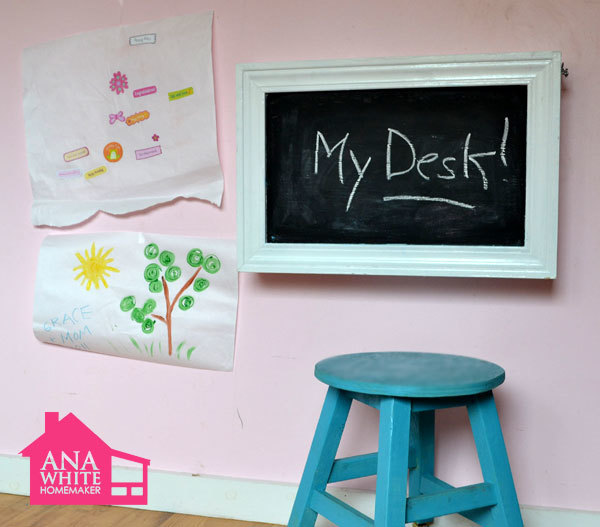 Ana white flip down wall art desk diy projects this do it yourself kids desk folds up to become a wall chalkboard stores art supplies and even a paper roll holder super easy step by step instructions solutioingenieria Image collections