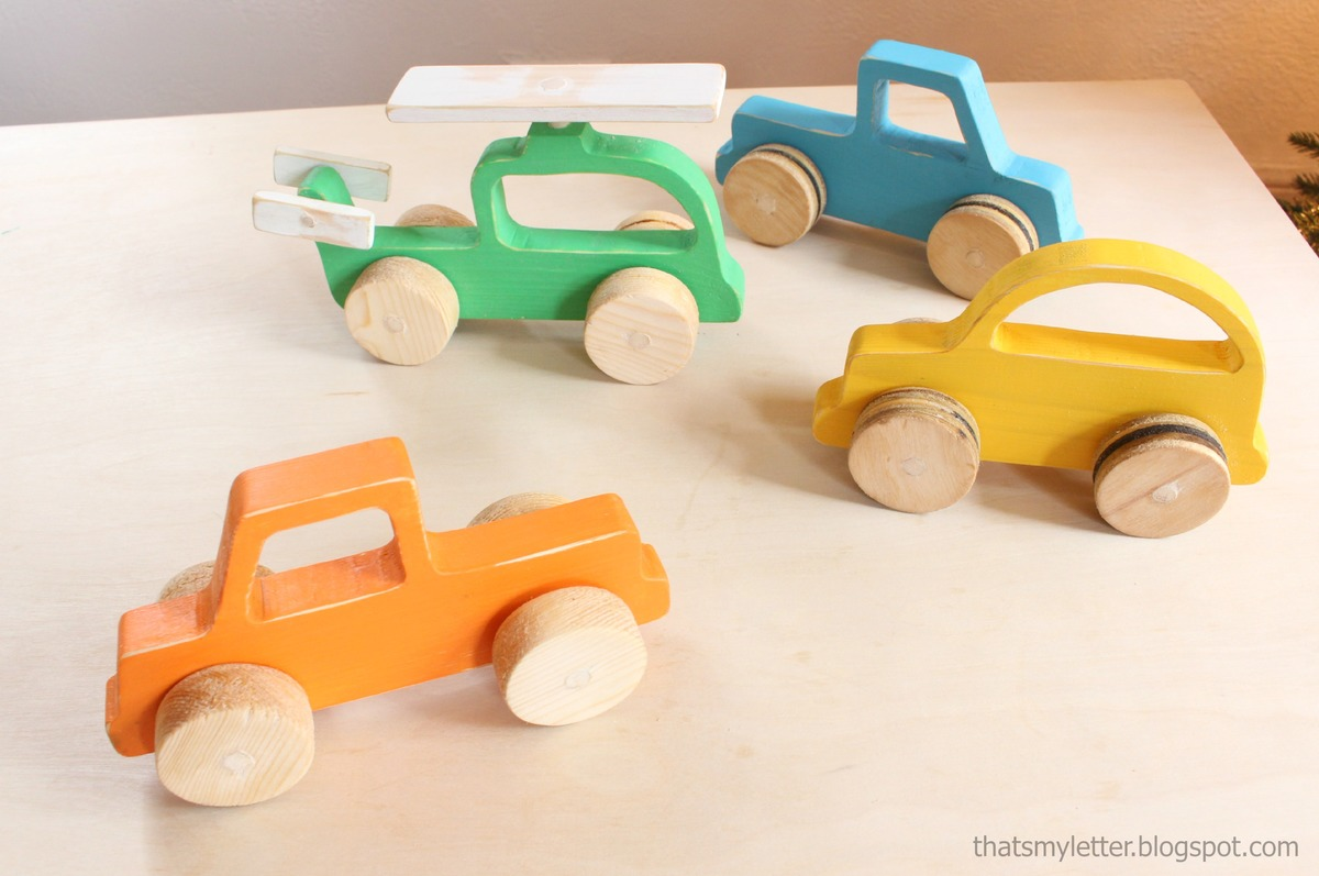 wood push car, truck and helicopter toys | ana white