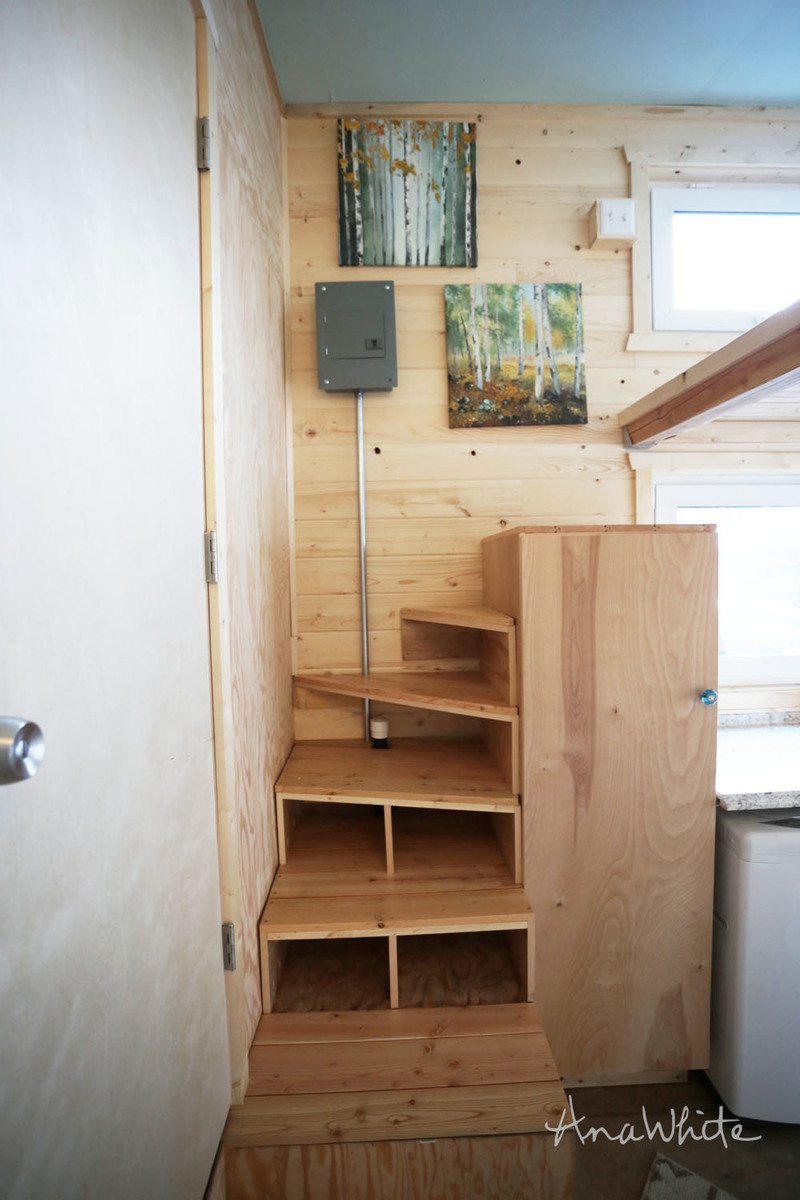 Ana white tiny house stairs spiral storage style diy Inside staircase in houses