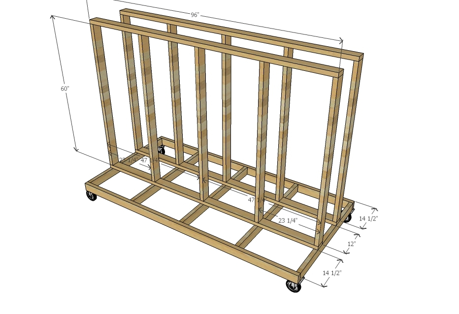 Ana white ultimate lumber and plywood storage cart diy for Rolling lumber cart plans