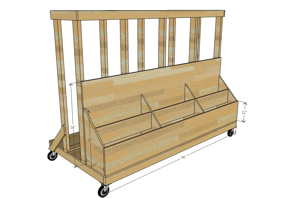 Plywood storage cart plans the best cart for Rolling lumber cart plans
