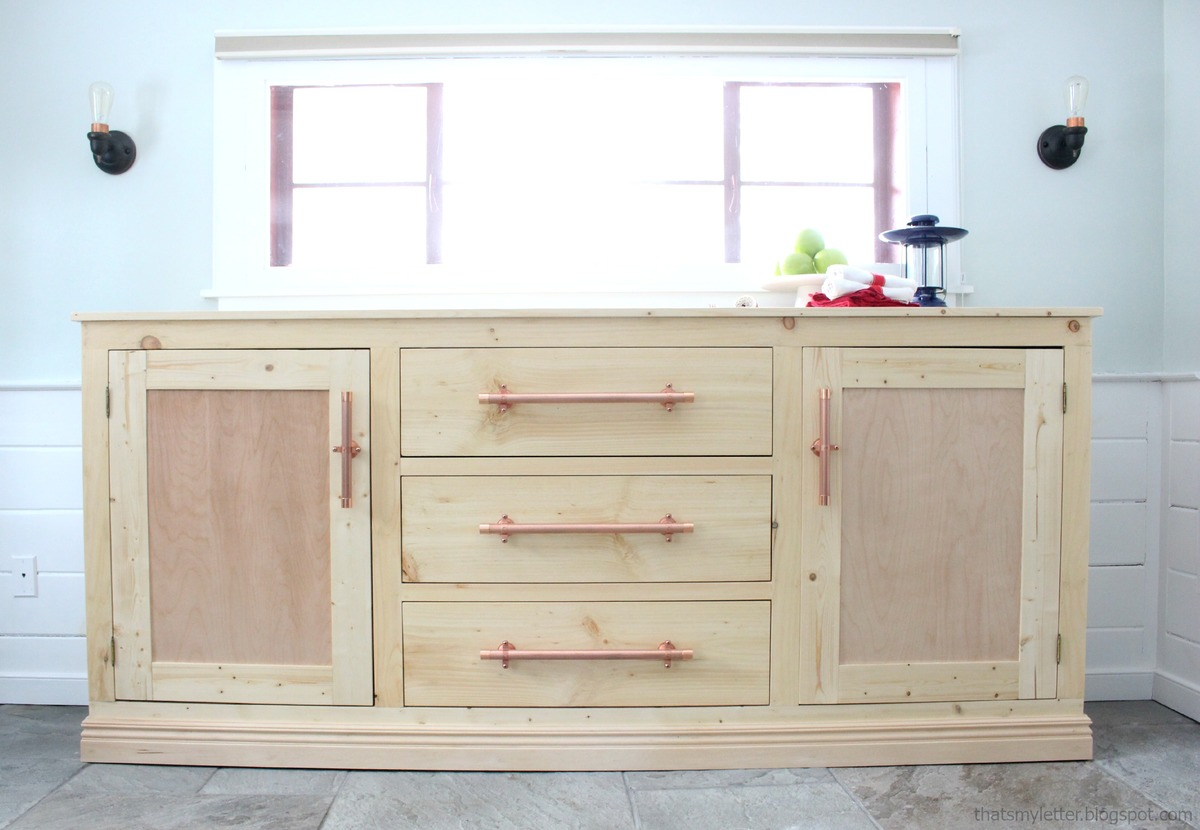 Ana white extra long buffet cabinet diy projects Diy white cabinets